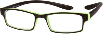 Angle of The Macintosh Hanging Reader in Black with Green, Women's and Men's Rectangle Reading Glasses