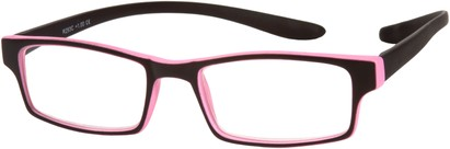 Angle of The Macintosh Hanging Reader in Black with Pink, Women's and Men's Rectangle Reading Glasses