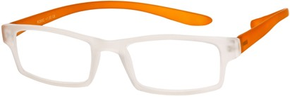 Angle of The Macintosh Hanging Reader in Clear/Orange, Women's and Men's Rectangle Reading Glasses