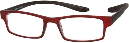 Angle of The Macintosh Hanging Reader in Red/Black Fade, Women's and Men's Rectangle Reading Glasses