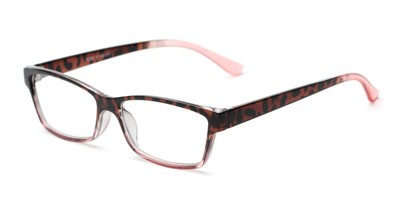 Angle of The Edlund in Tortoise/Pink Fade, Women's Rectangle Reading Glasses