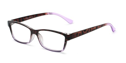 Angle of The Edlund in Tortoise/Purple Fade, Women's Rectangle Reading Glasses