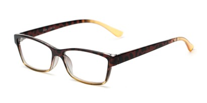 Angle of The Edlund in Tortoise/Yellow Fade, Women's Rectangle Reading Glasses