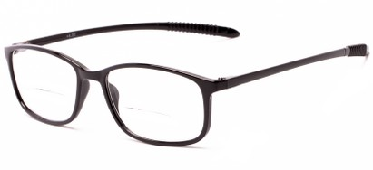Angle of The Poe Bifocal in Glossy Black, Women's and Men's Rectangle Reading Glasses