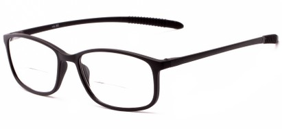 Angle of The Poe Bifocal in Matte Black, Women's and Men's Rectangle Reading Glasses