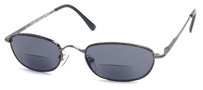 Angle of The Harris Bifocal Reading Sunglasses in Grey Frame with Smoke Lenses, Women's and Men's