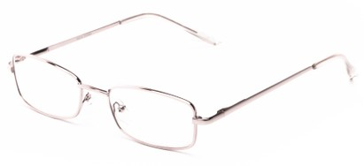 Angle of The Noah in Silver, Women's and Men's Rectangle Reading Glasses