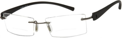 Angle of The Composer Bifocal in Black/Silver, Women's and Men's Rectangle Reading Glasses