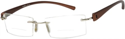 Angle of The Composer Bifocal in Bronze, Women's and Men's Rectangle Reading Glasses