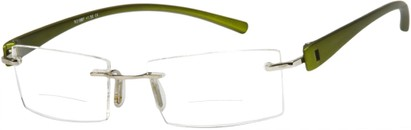 Angle of The Composer Bifocal in Olive Green, Women's and Men's Rectangle Reading Glasses