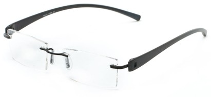Angle of The Marquee in Black/Black, Women's and Men's Retro Square Reading Glasses