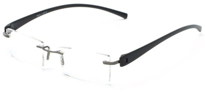 Angle of The Marquee in Grey/Black, Women's and Men's Retro Square Reading Glasses