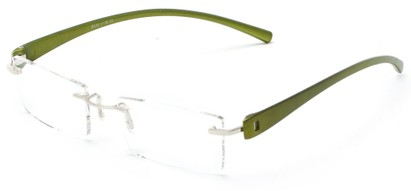 Angle of The Marquee in Green, Women's and Men's Retro Square Reading Glasses