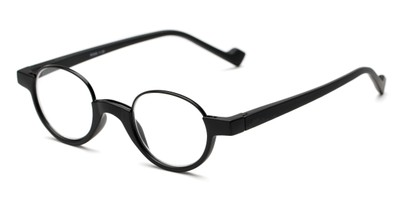Angle of The Raegan in Black, Women's and Men's Round Reading Glasses