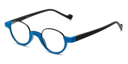 Angle of The Raegan in Blue/Black, Women's and Men's Round Reading Glasses