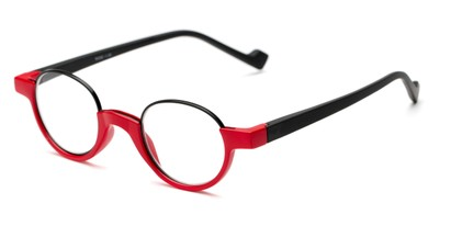 Angle of The Raegan in Red/Black, Women's and Men's Round Reading Glasses