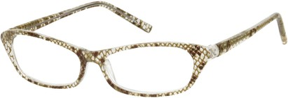 Angle of The Janine in Brown/Clear Snake, Women's and Men's