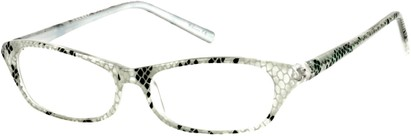 Angle of The Janine in White/Clear Snake, Women's and Men's