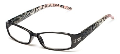 Angle of The Crystal in Black/Pink, Women's Rectangle Reading Glasses