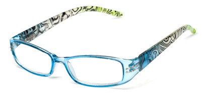 Angle of The Crystal in Blue/Green, Women's Rectangle Reading Glasses