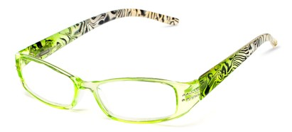 Angle of The Crystal in Green/White, Women's Rectangle Reading Glasses