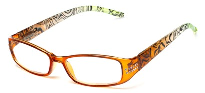 Angle of The Crystal in Brown/Green, Women's Rectangle Reading Glasses