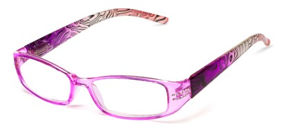 Angle of The Crystal in Pink/Purple, Women's Rectangle Reading Glasses
