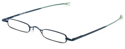 Angle of The Royce Slim Reader in Blue, Women's and Men's Rectangle Reading Glasses
