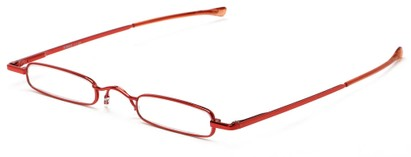 Angle of The Royce Slim Reader in Red, Women's and Men's Rectangle Reading Glasses