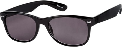 Angle of The Riviera Reading Sunglasses in Black with Smoke, Women's and Men's Retro Square Reading Sunglasses
