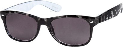 Angle of The Riviera Reading Sunglasses in Grey Tortoise with Smoke, Women's and Men's Retro Square Reading Sunglasses