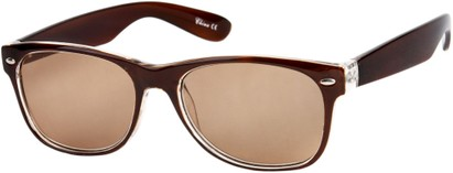 Angle of The Riviera Reading Sunglasses in Brown with Amber, Women's and Men's Retro Square Reading Sunglasses
