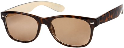 Angle of The Riviera Reading Sunglasses in Brown Tortoise with Amber, Women's and Men's Retro Square Reading Sunglasses