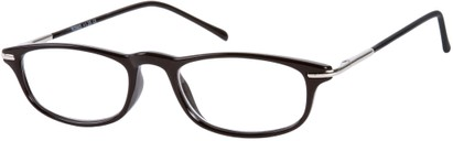 Angle of The Palermo in Black/Silver, Women's and Men's Rectangle Reading Glasses