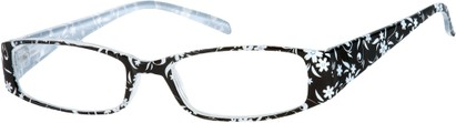 Angle of The Ramona in Black/White Floral, Women's Rectangle Reading Glasses