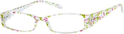 Angle of The Ramona in Clear/Pink Floral, Women's Rectangle Reading Glasses