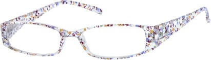 Angle of The Ramona in Clear/Purple Floral, Women's Rectangle Reading Glasses