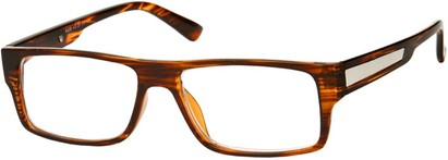 Angle of The Brandon in Brown Stripe, Women's and Men's Rectangle Reading Glasses
