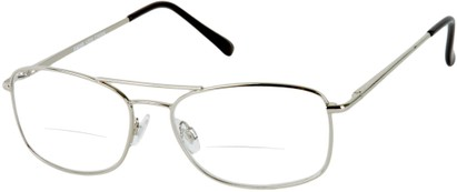 Angle of The Mark Bifocal in Silver, Women's and Men's Aviator Reading Glasses