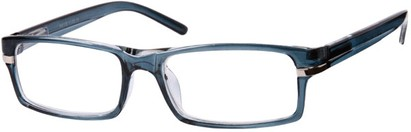Angle of The Cambridge in Blue, Women's and Men's Rectangle Reading Glasses