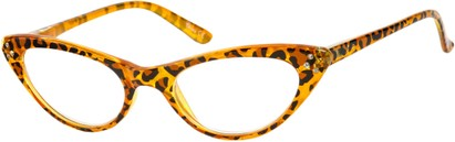 Angle of The Alexa in Orange Leopard, Women's Cat Eye Reading Glasses