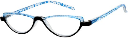 Angle of The Arista in Clear/Blue, Women's Cat Eye Reading Glasses