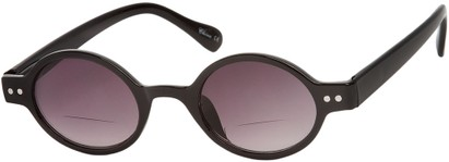 Angle of The Peabody Bifocal Reading Sunglasses in Black with Smoke Lenses, Women's and Men's Round Reading Sunglasses