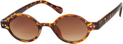 Angle of The Peabody Bifocal Reading Sunglasses in Tortoise with Amber Lenses, Women's and Men's Round Reading Sunglasses