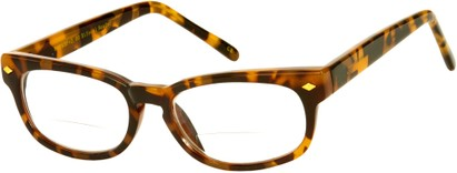 Angle of The Britton Bifocal in Tan Tortoise, Women's and Men's Retro Square Reading Glasses