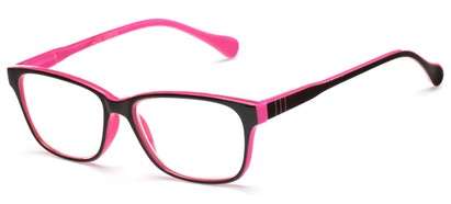 Angle of The Highlight in Black/Hot Pink, Women's and Men's Square Reading Glasses
