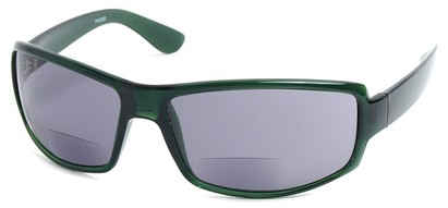 Angle of The Oaklie Bifocal Reading Sunglasses in Green with Smoke, Men's Rectangle Reading Sunglasses