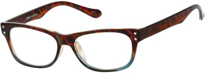 Angle of The Dodge in Brown Tortoise/Blue, Women's and Men's Retro Square Reading Glasses