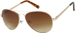 Angle of The Bond Bifocal Reading Sunglasses in Gold with Amber, Women's and Men's Aviator Reading Sunglasses