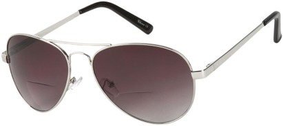 Angle of The Bond Bifocal Reading Sunglasses in Silver with Smoke, Women's and Men's Aviator Reading Sunglasses